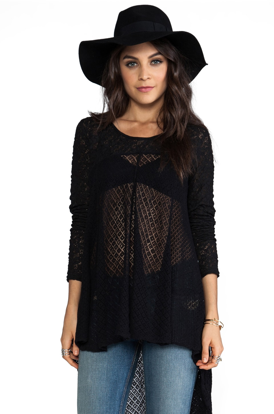 Free People Black Magic Pullover in Black