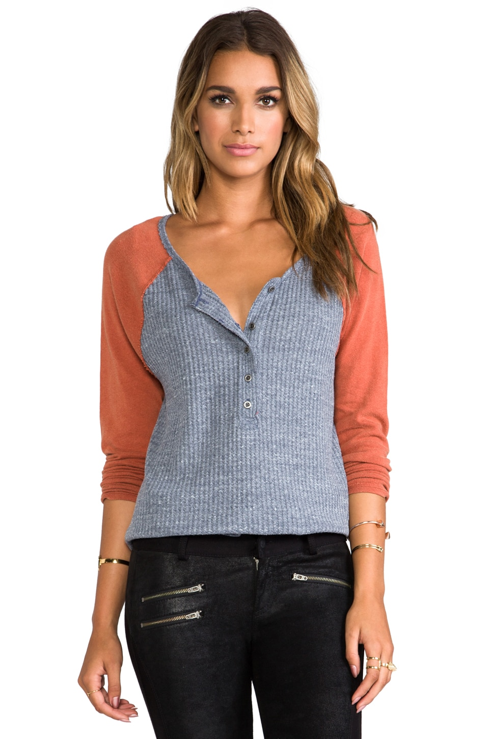 Free People Berkin Waffle Top Combo in Navy Heather