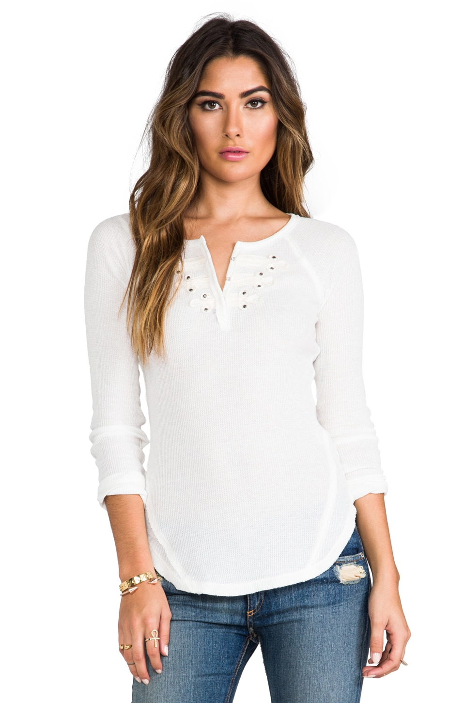 Free People Long Sleeve Battalion Thermal in Snow