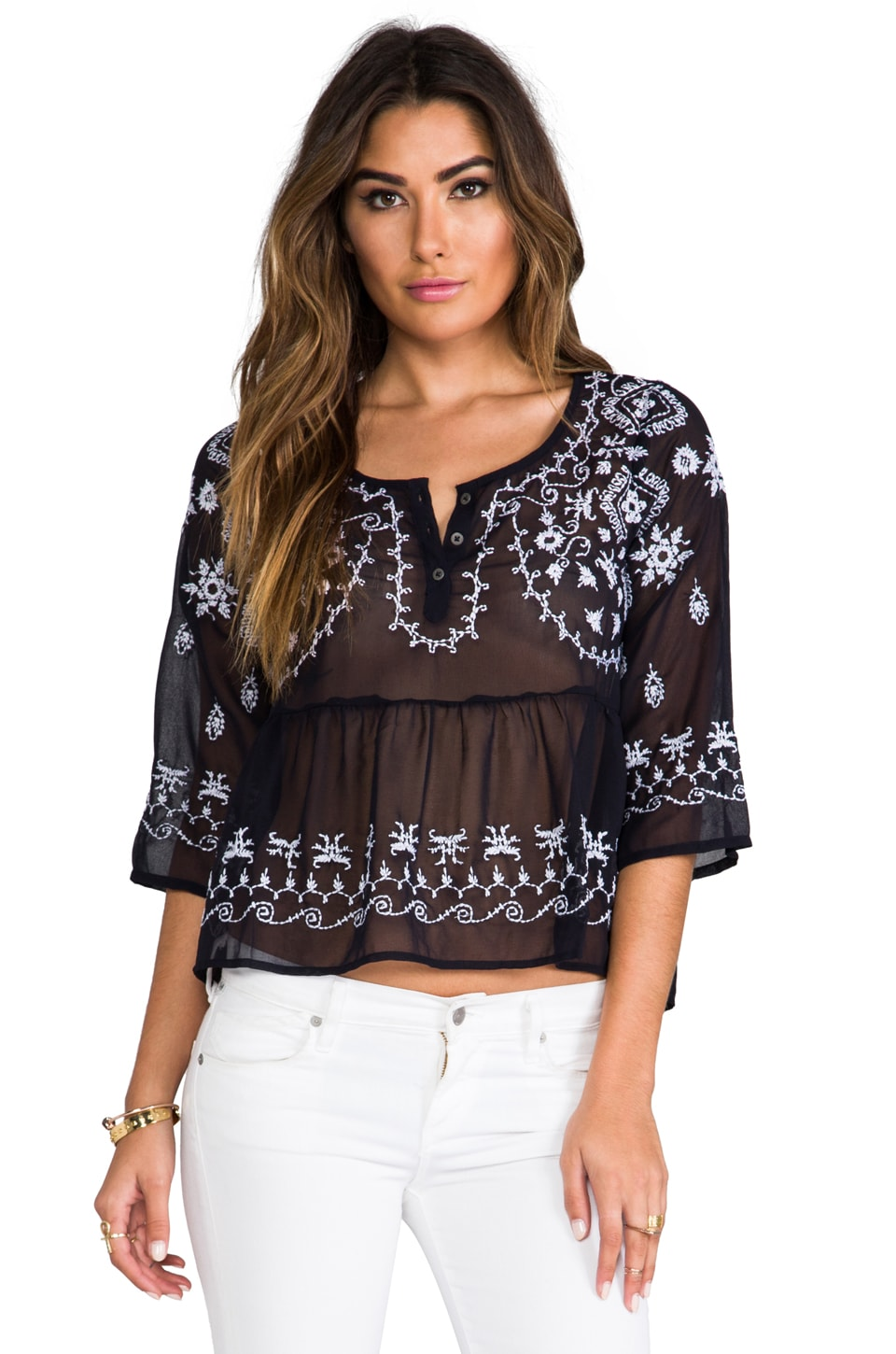 Free People Pennies Sequel Emroboidered Top in Navy Combo