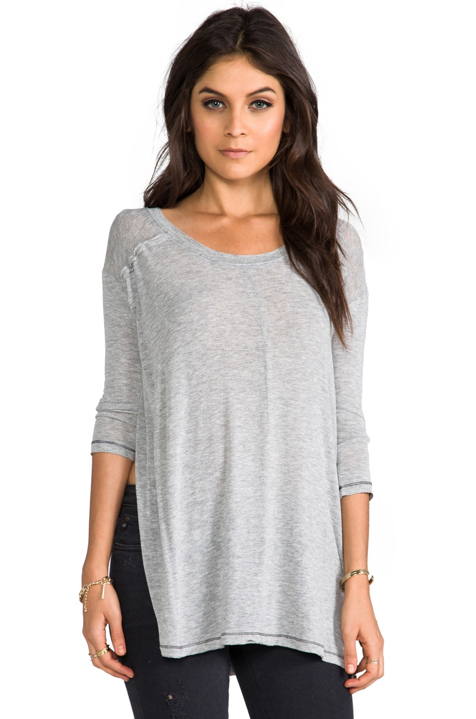 Free People Saturday Night Top in Grey Heather