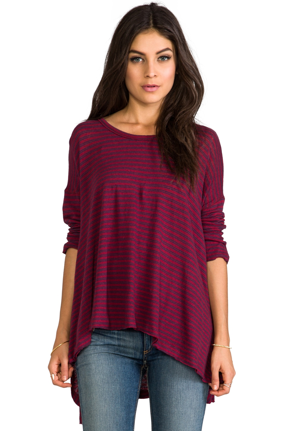 Free People In The Sand Tee in Berry/Navy