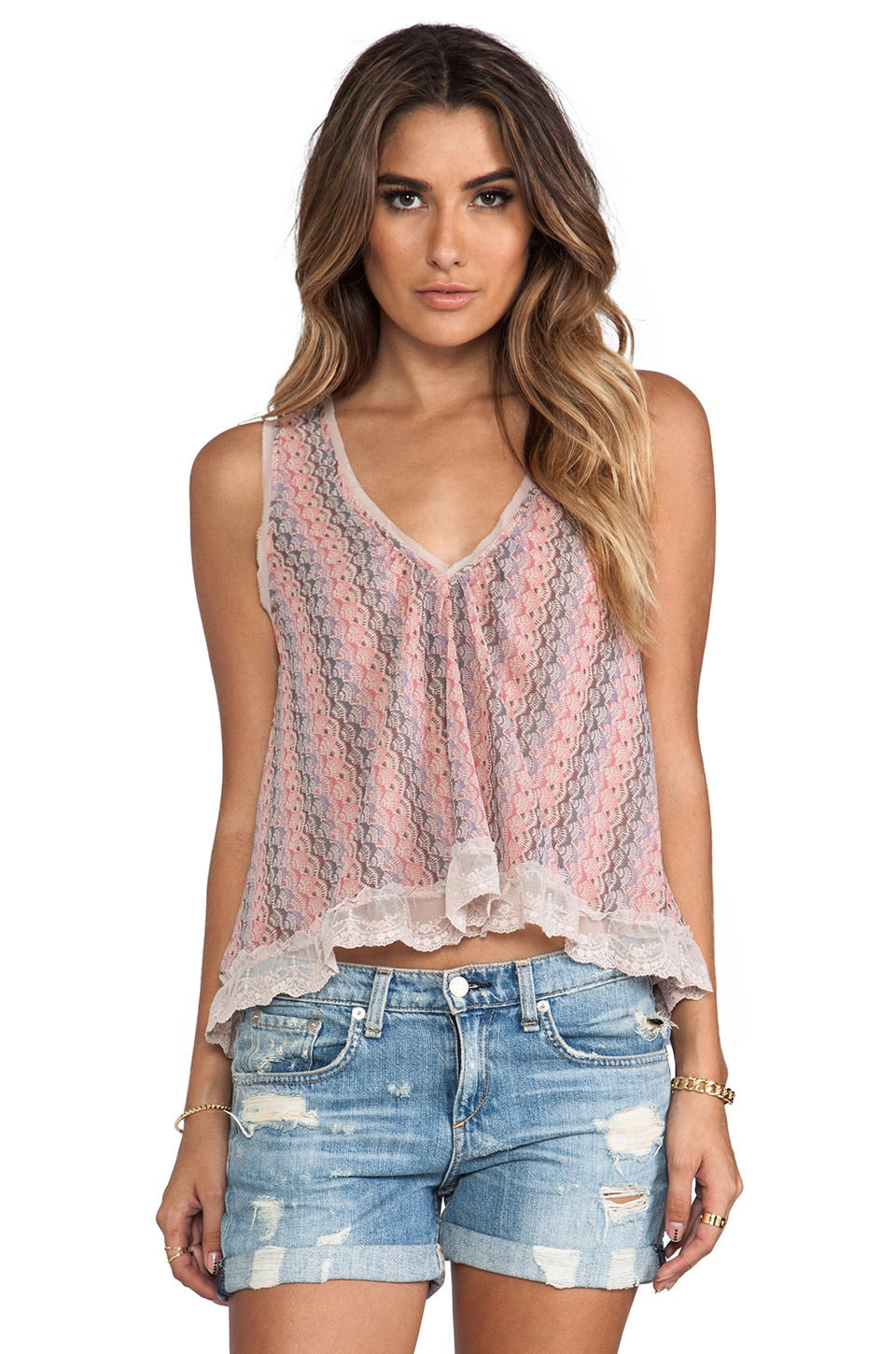Free People Flutter Fly Top in Pink Combo