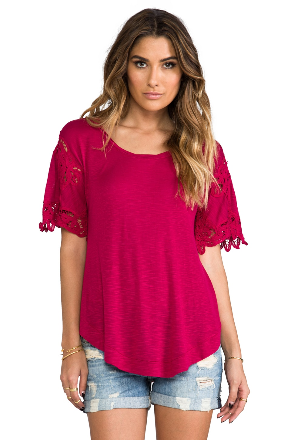 Free People Mallary's Battenberg Tee in Raspberry