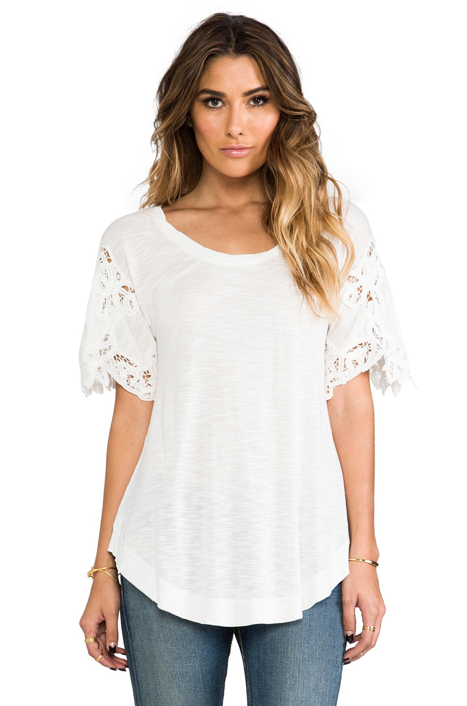 Free People Mallary's Battenberg Tee in Snow
