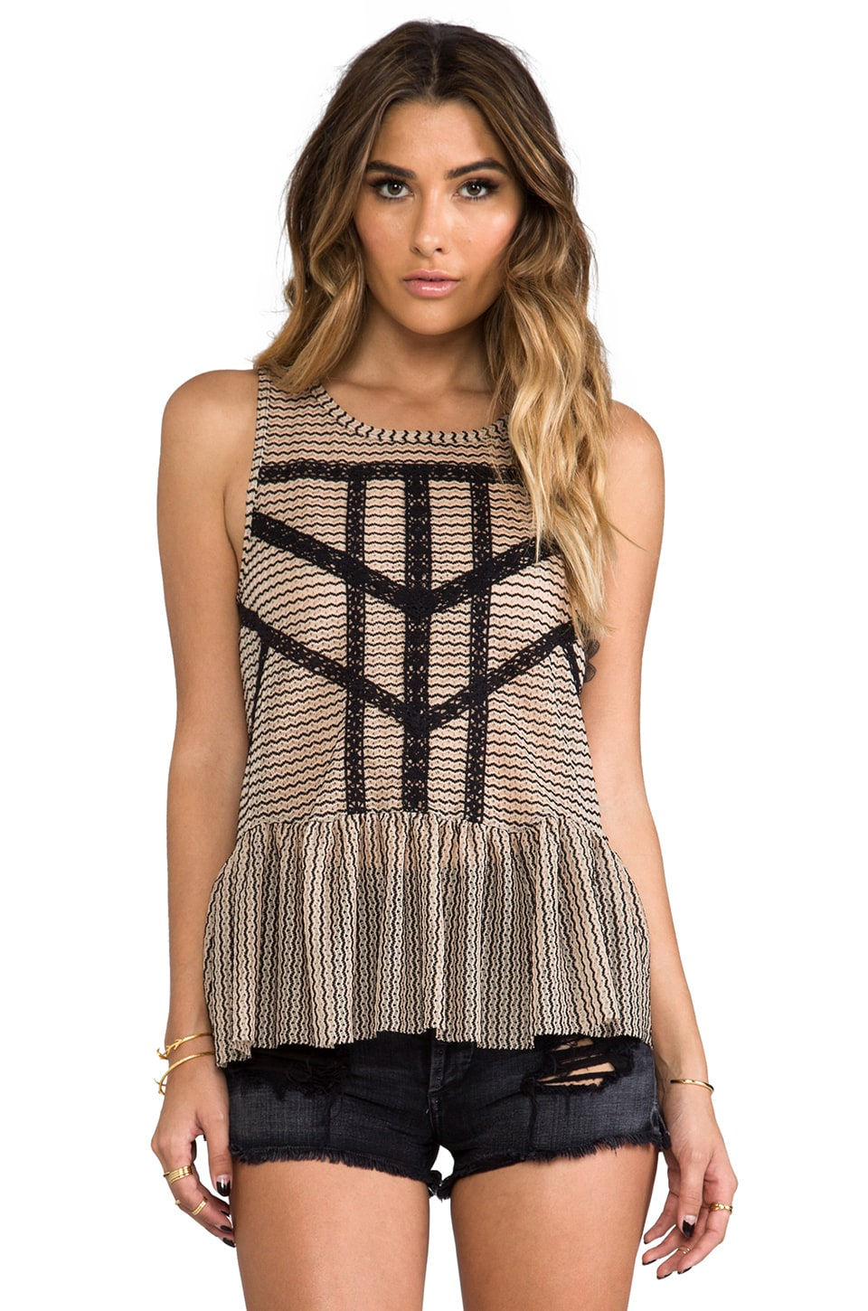 Free People Lace & Stripe Peplum Top in Black & Toasted Almond