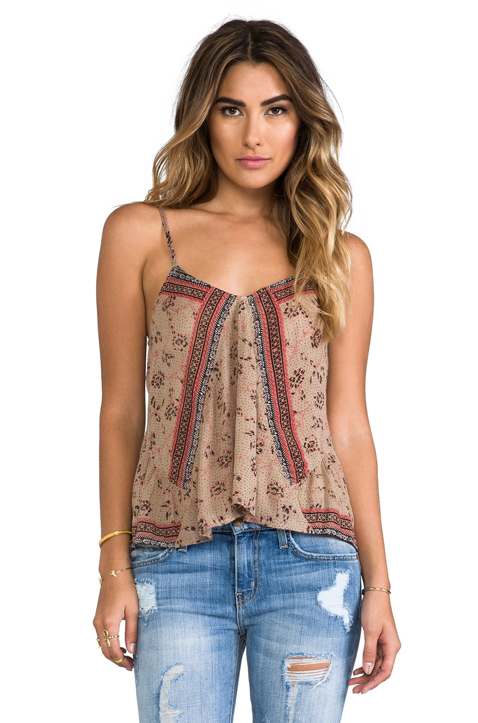 Free People Mixed Print Tank in Taupe Combo