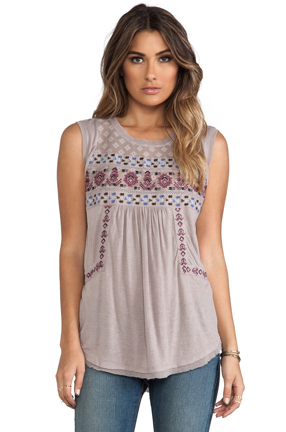 Free People Reckless Abandon Top in Taupe