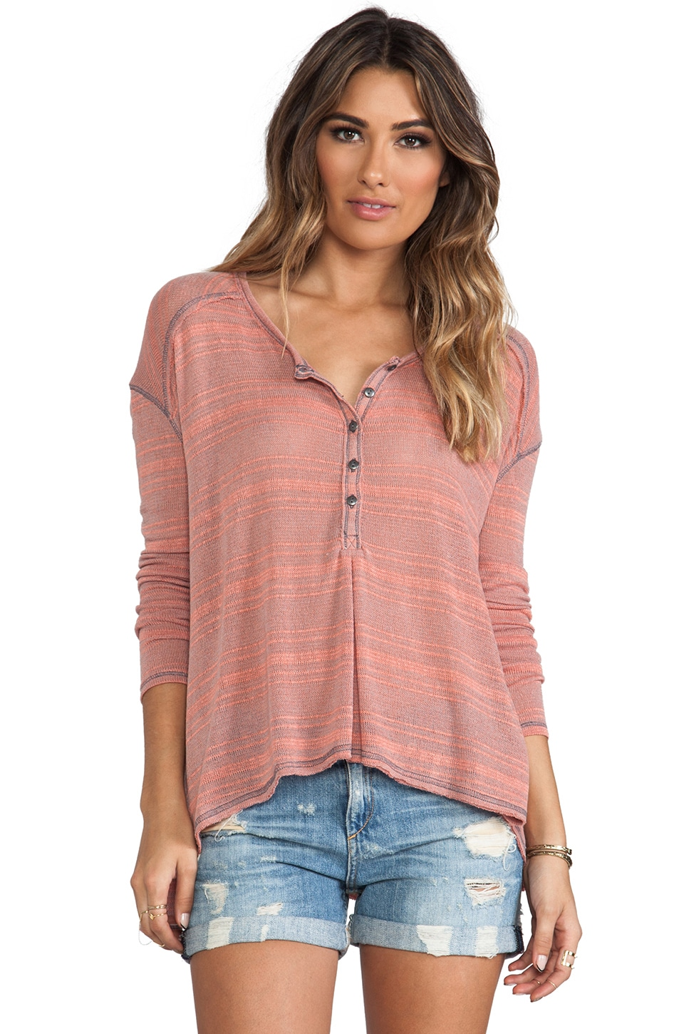 Free People Slinky Hacci Top in Dove Grey Combo