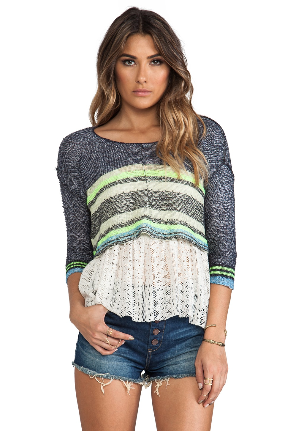 Free People Take Charge Twofer Pullover in Blue Ivory