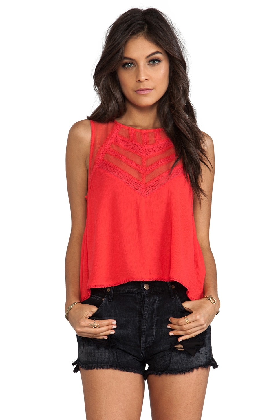 Free People Shellshock Top in Poppy Red