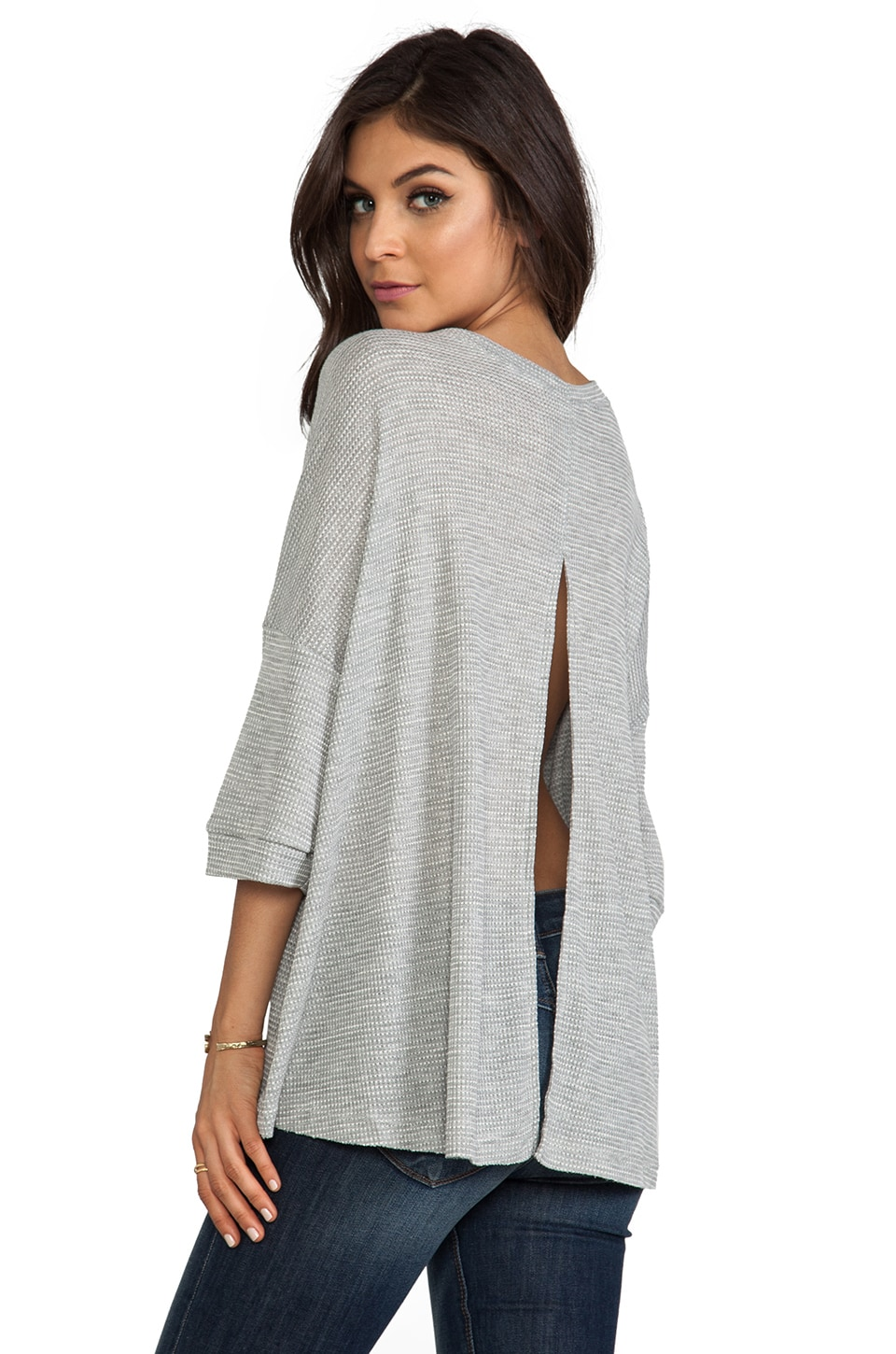 Free People Story Teller Tee in Heather Grey