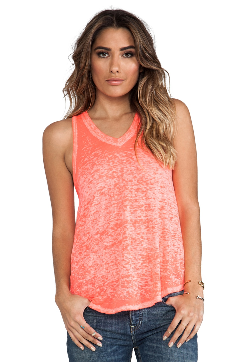 Free People Breezy Tank in Neon Red