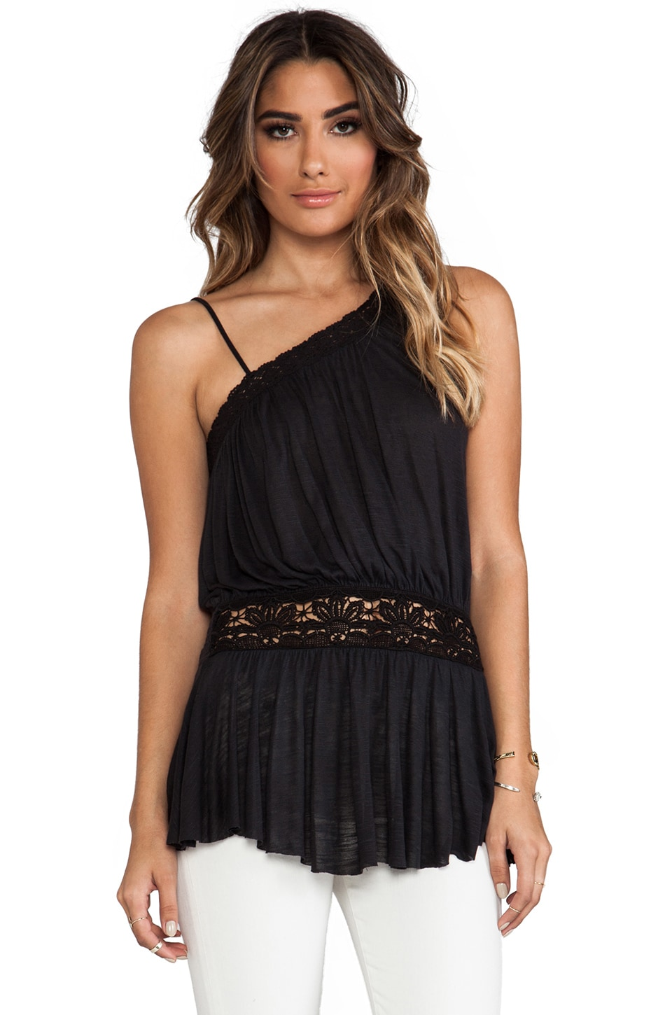 Free People Summer Haze One Shoulder Top in Black