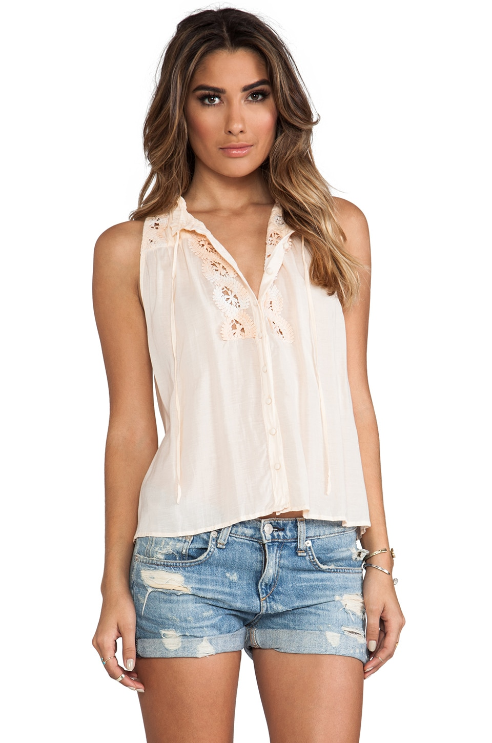 Free People Lace Inset Collar Top in Light Peach