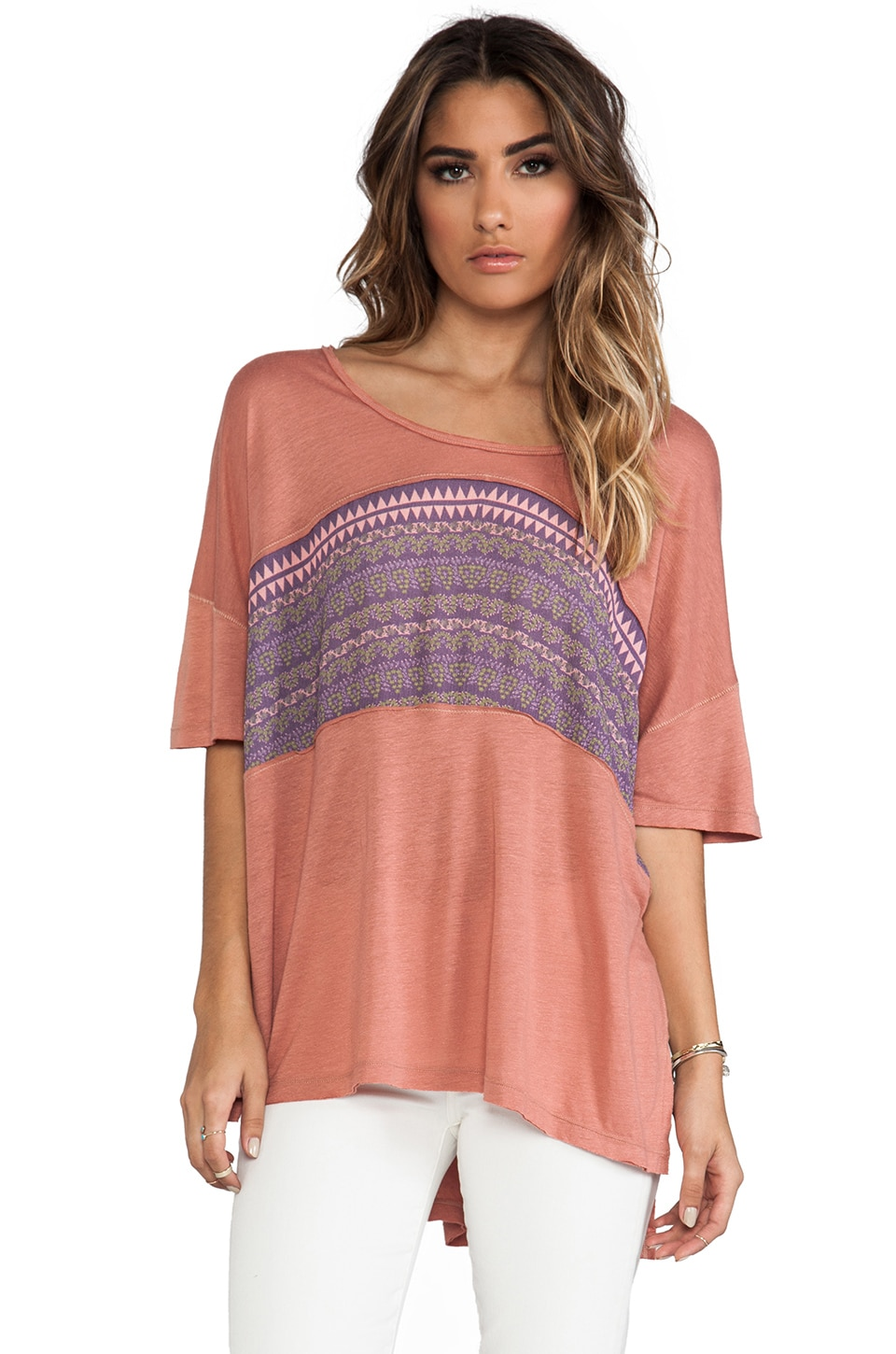 Free People Stars Of Orion Tee in Summer Sand Combo