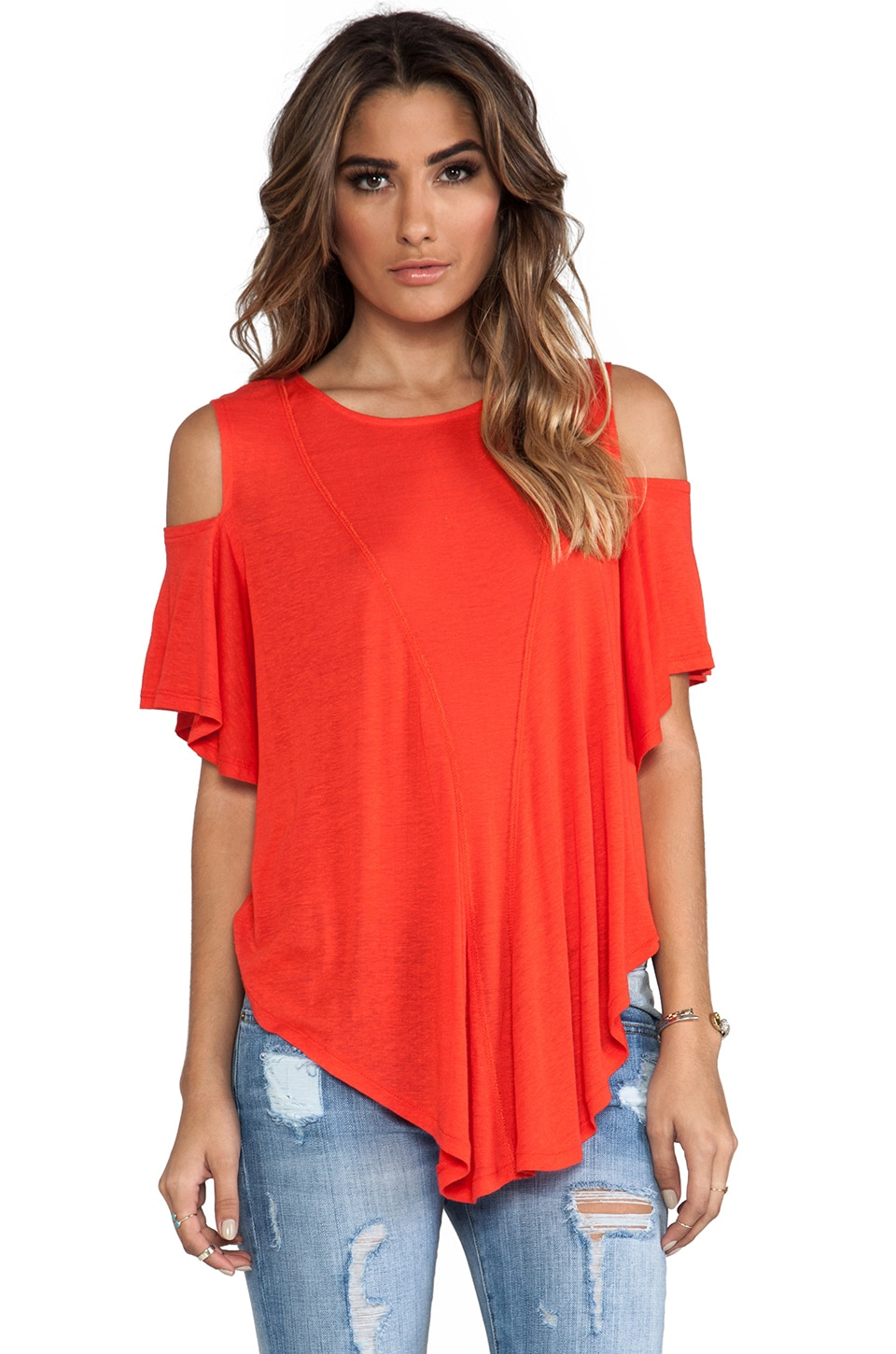 Free People Cold Shoulder Seamed Top in Bright Red