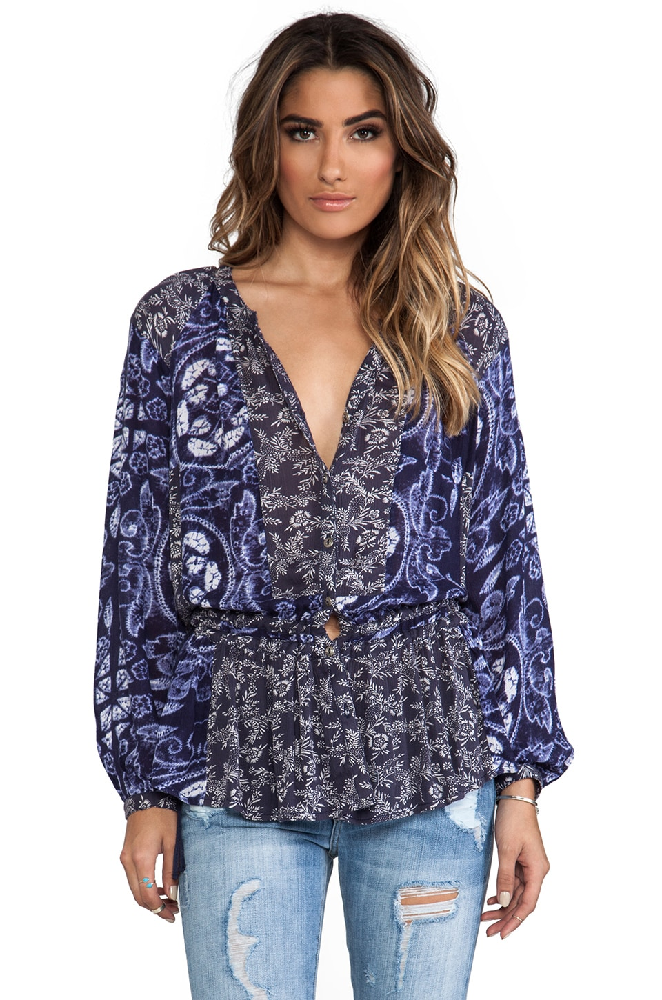 Free People Ratio Print Tunic in Indigo Combo