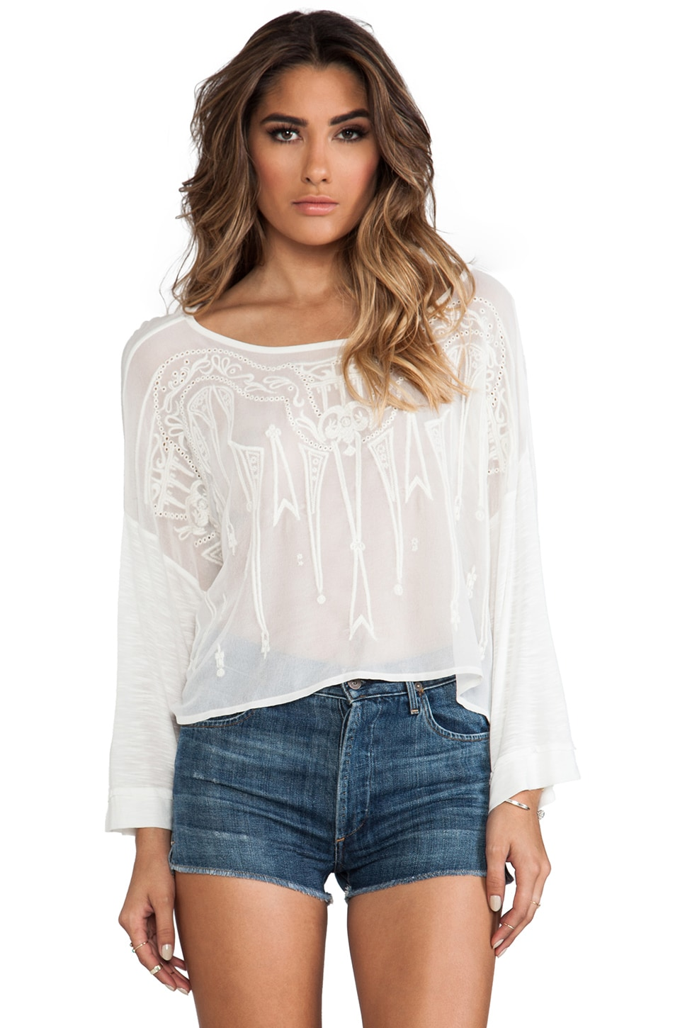 Free People Pandora's Embroidered Top in White