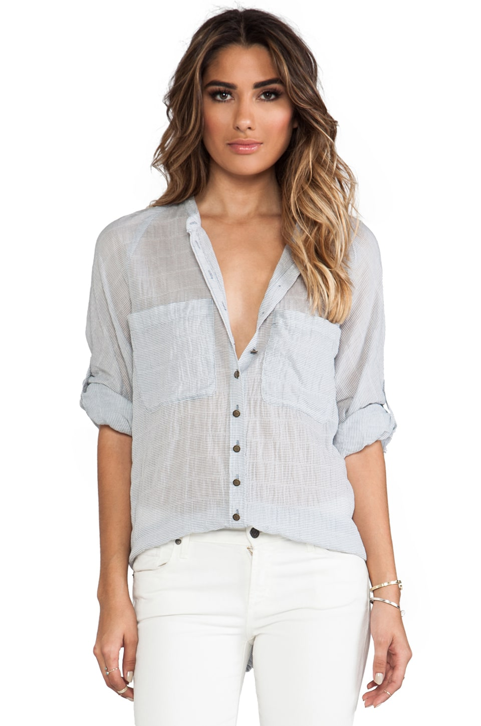 Free People Put Your Back Into It Top in Chambray Combo