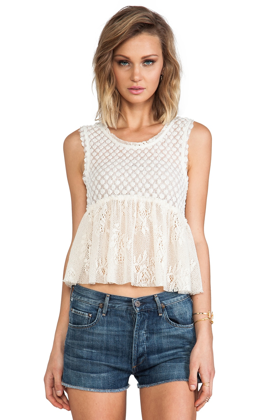 Free People Varsity Peplum Top in Ivory