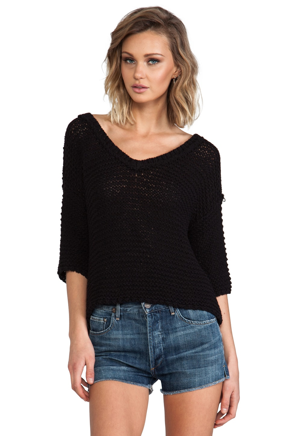 Free People Park Slope Sweater in Black