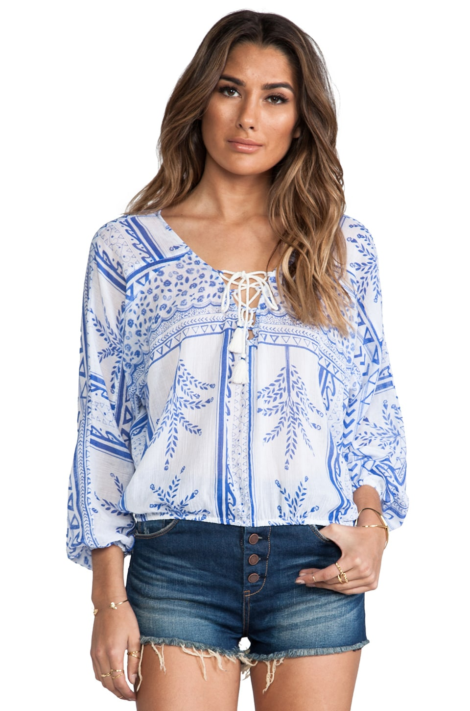 Free People Yo Yo Printed Top in White Combo