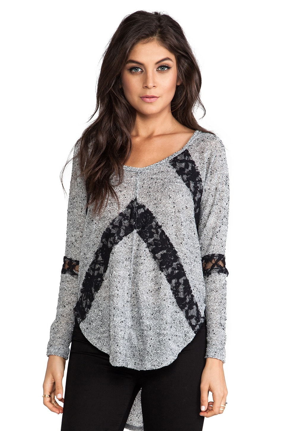Free People Flying V Hacci Top in Grey Heather