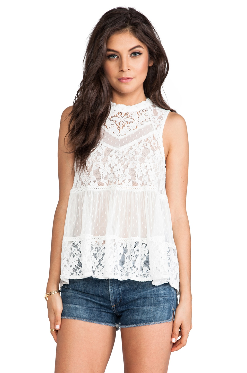 Free People Ladybird Lace Tank in White