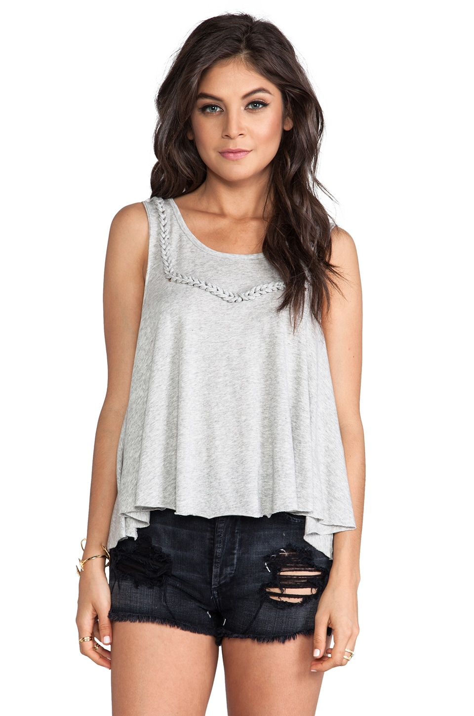 Free People Free Falling Drippy Tank in Heather Grey