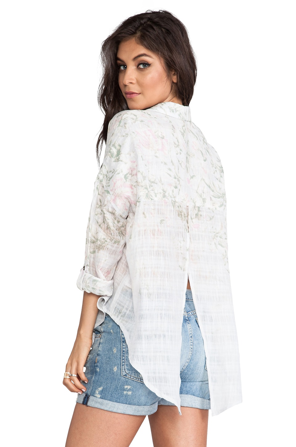 Free People Printed Shibori Siren Button Down in Lilac Combo