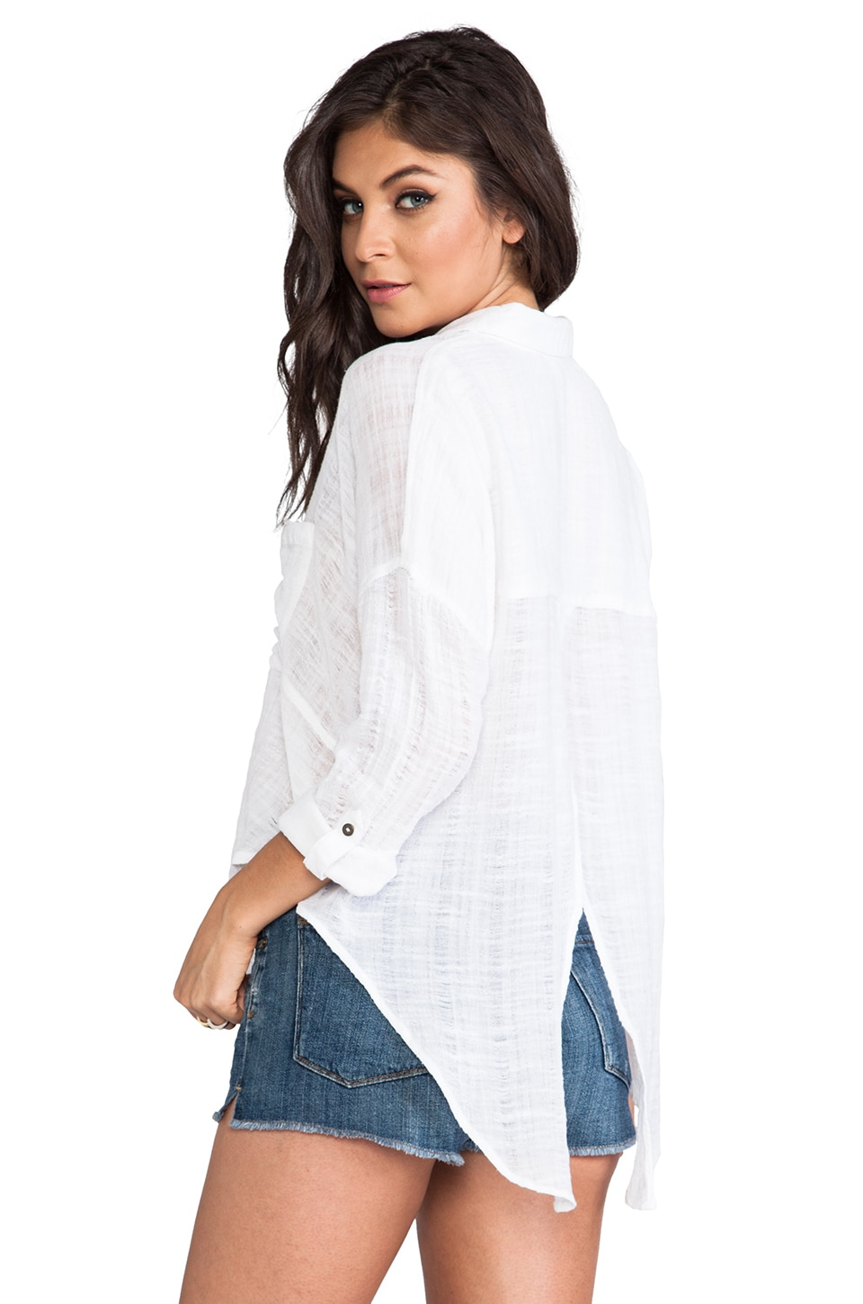 Free People Shibori Siren Button Down in White