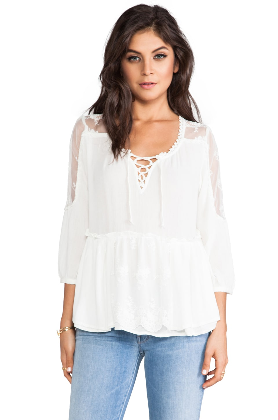 Free People Romance Of The Rose Top in Snow