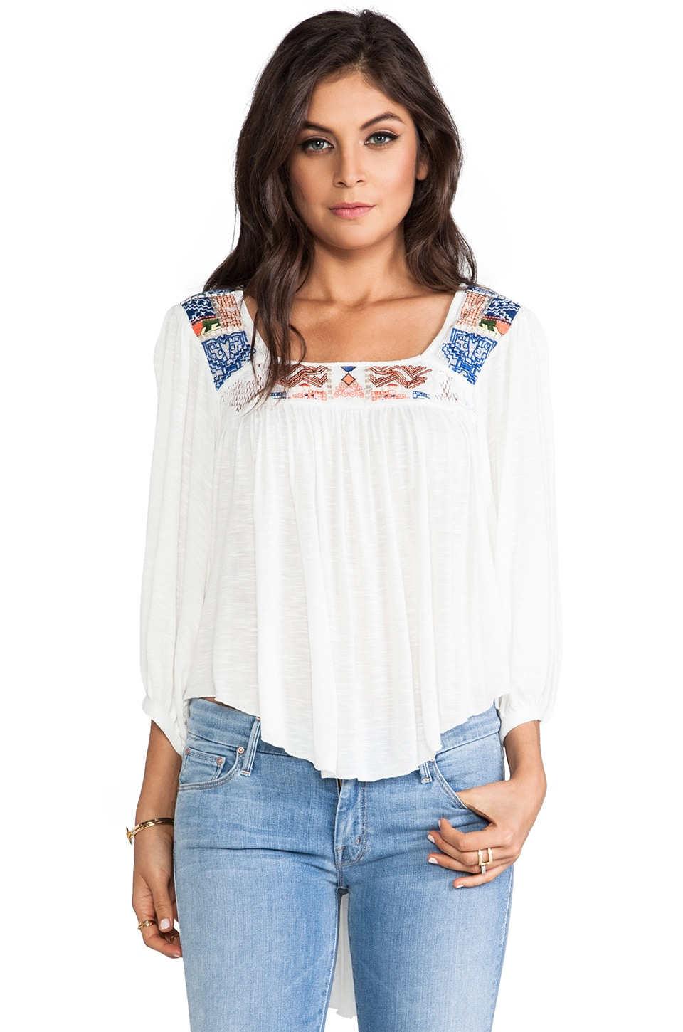 Free People Free Bird Embroidered Top in Alabaster