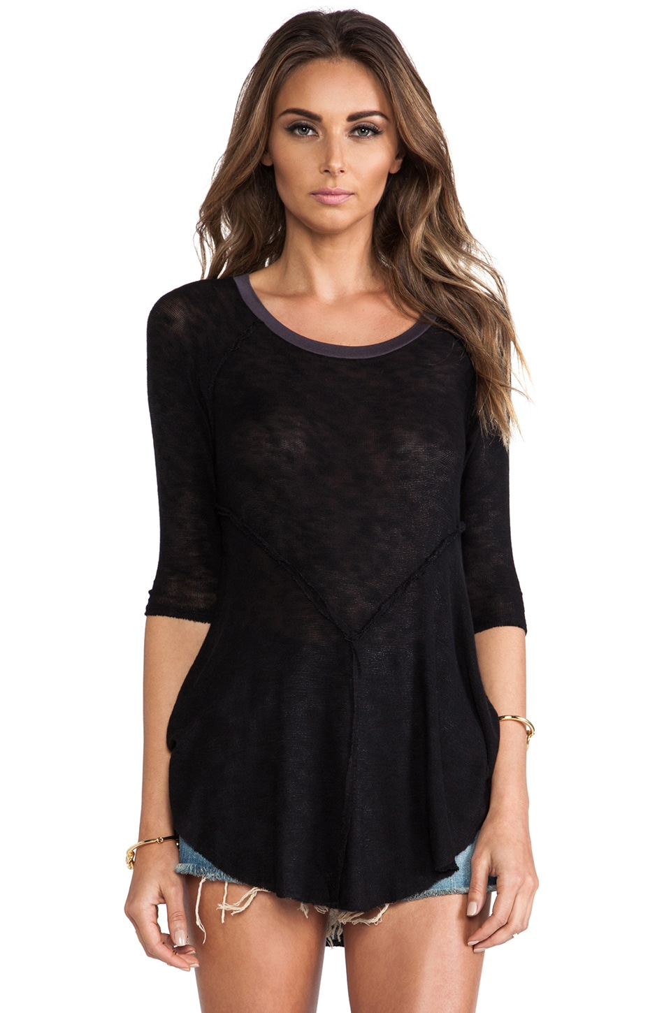 Free People Weekend Layering Top in Black Combo
