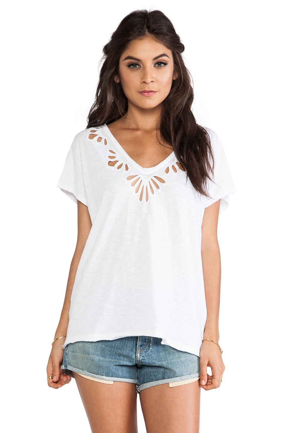 Free People Cut Work Double V Tee in White