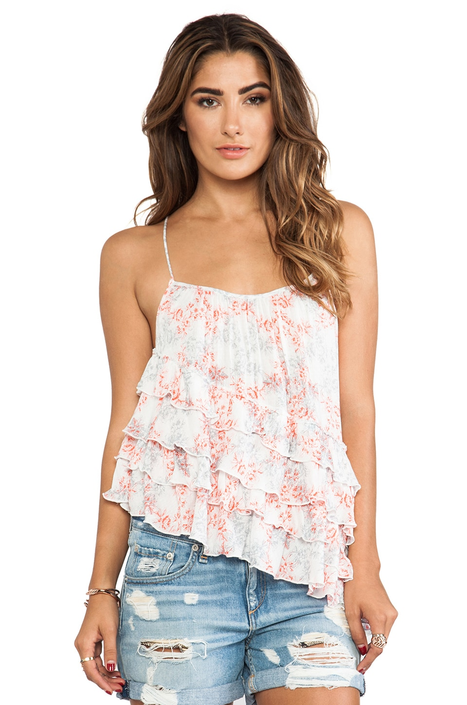 Free People Printed Flutter By Top in Festival Combo