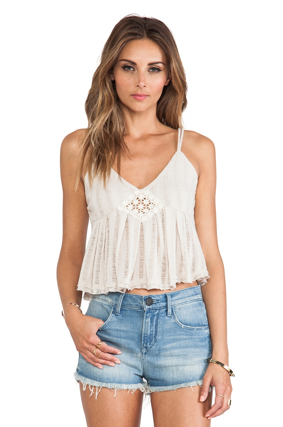 Free People Chemical Lace Romance Top in Ballet Heather
