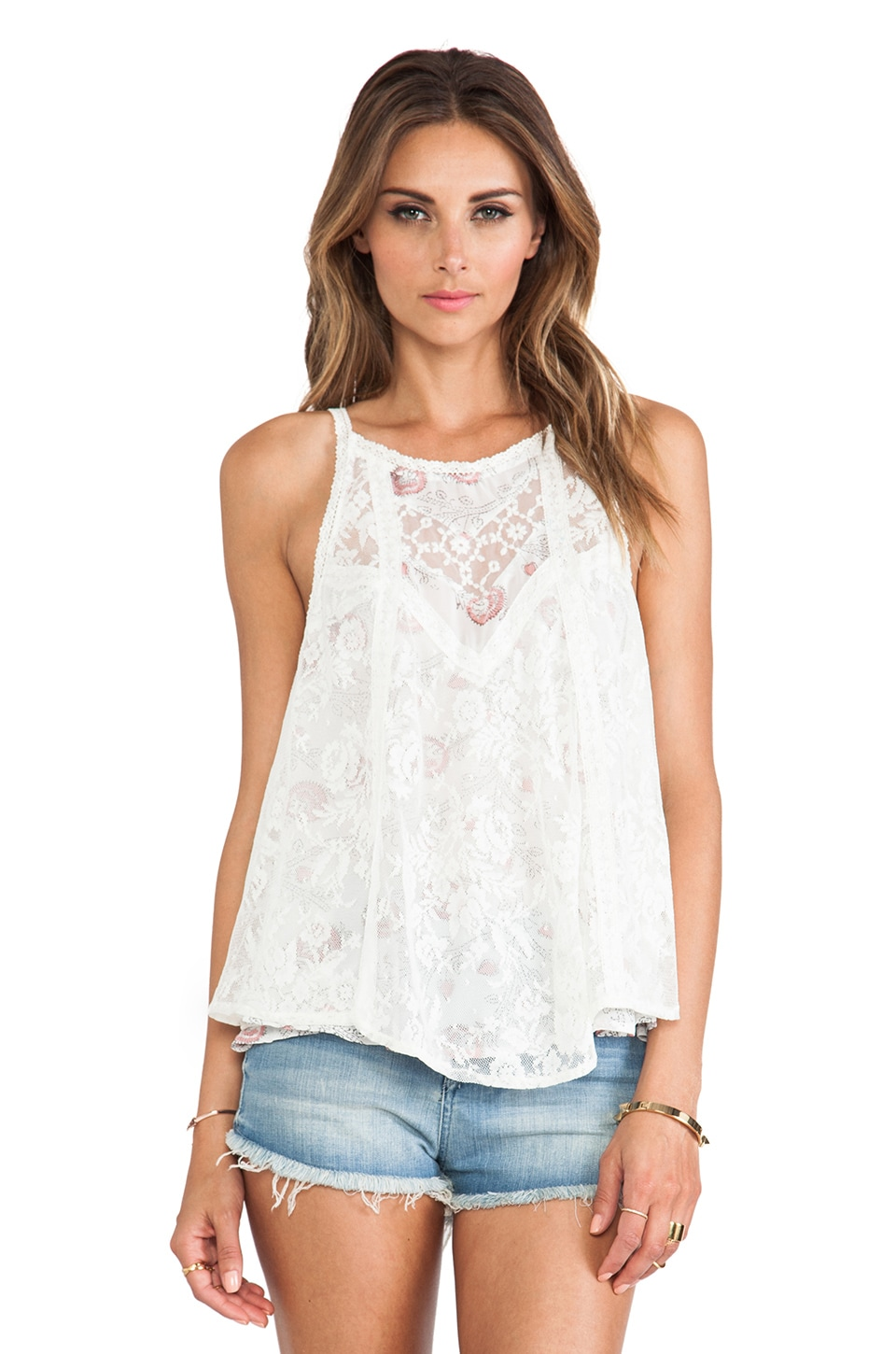 Free People Miss Mackenzie Top in Pearl Combo