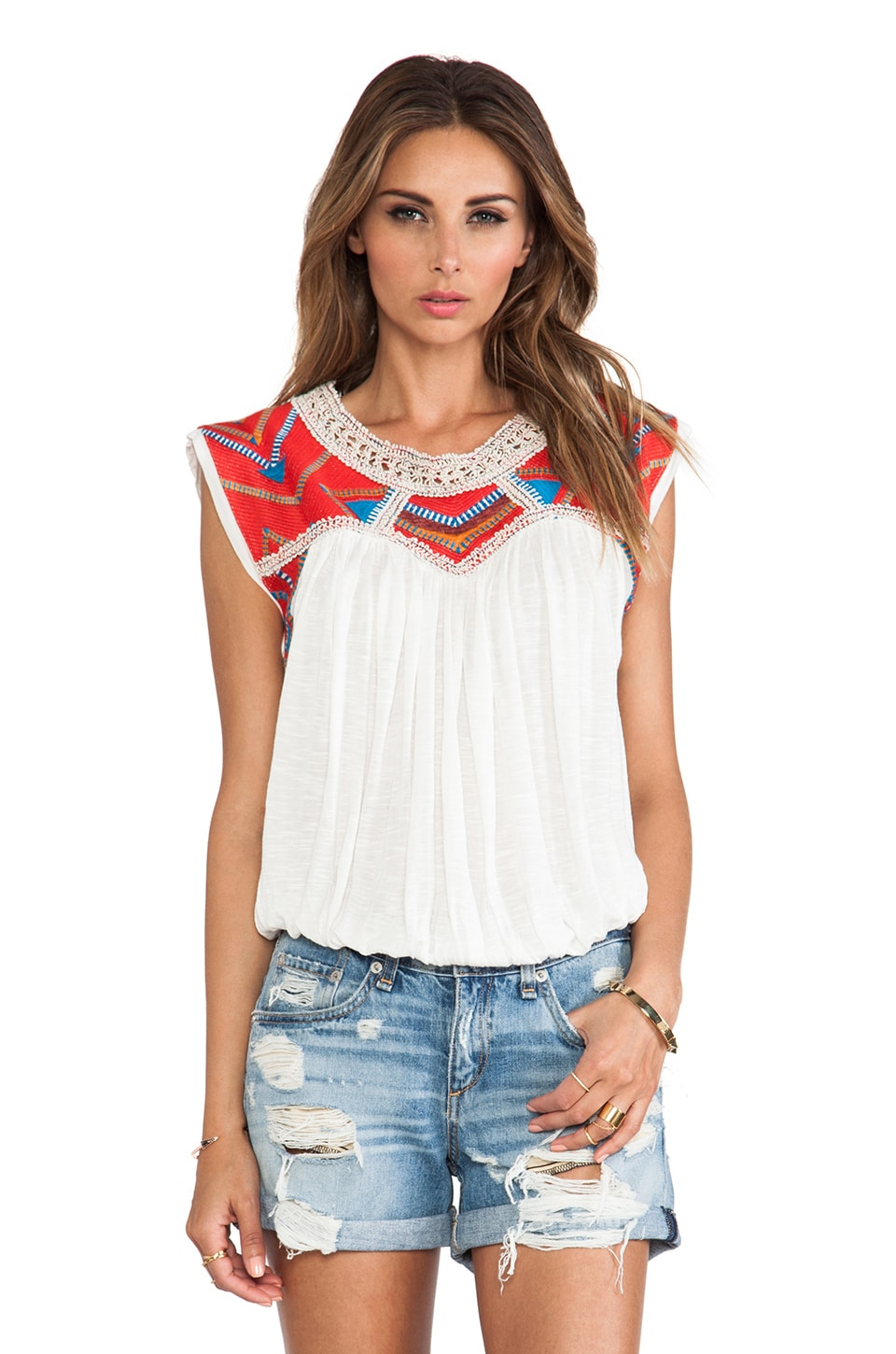 Free People Tribal Disco Tank in Snow Combo
