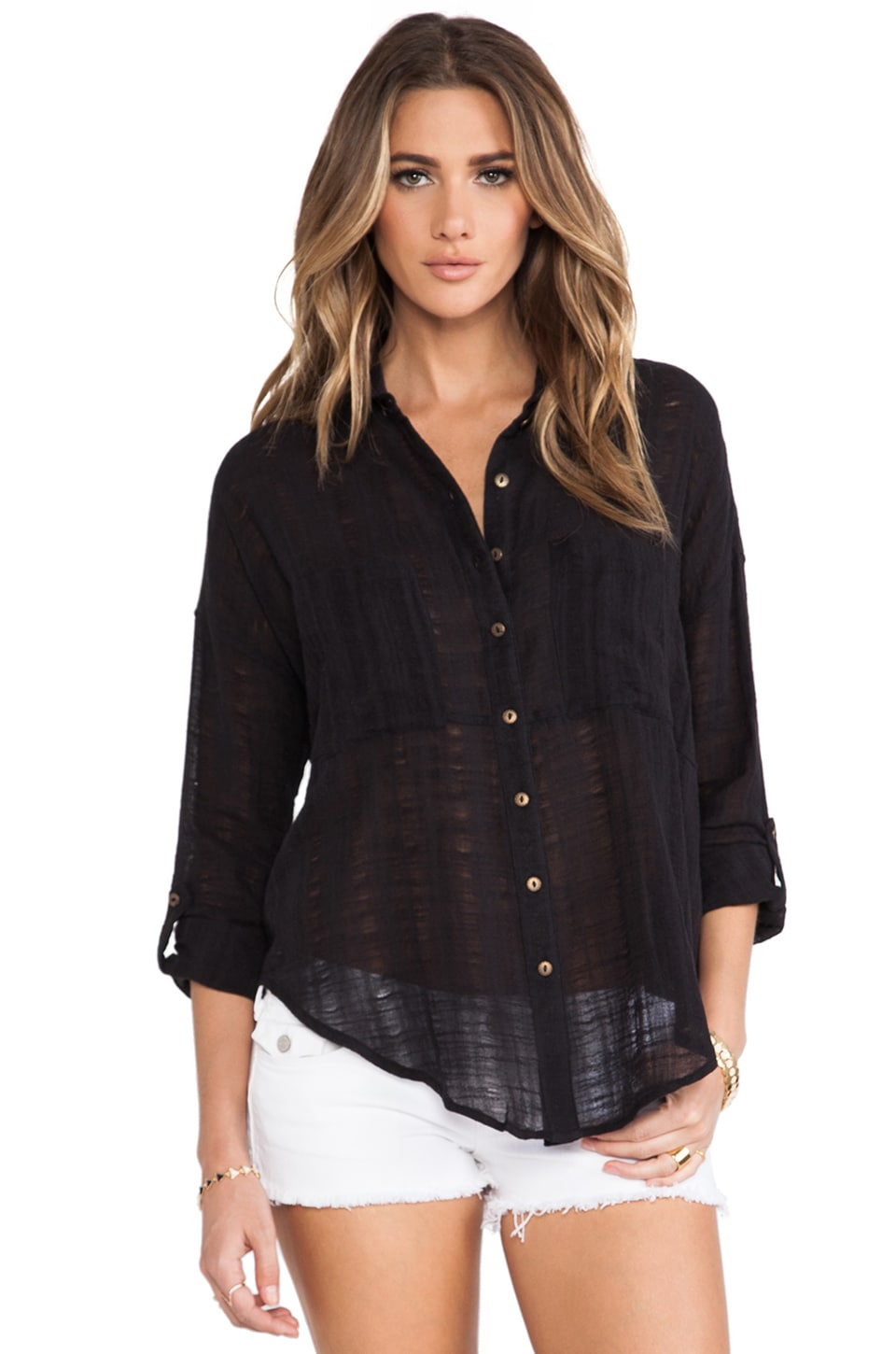 Free People Shibori Siren Buttondown Top in Black