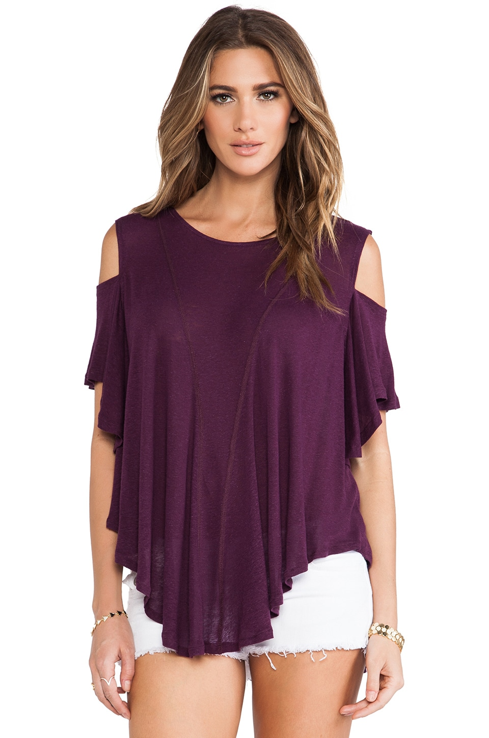 Free People Cold Shoulder Top in Aubergine