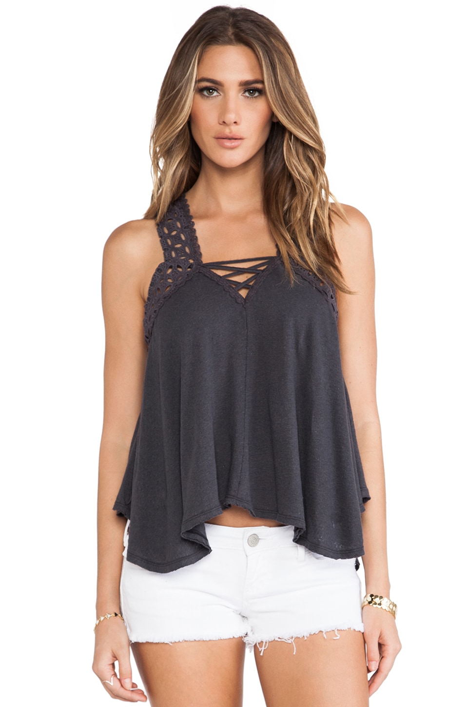 Free People Runa Round Eyelet Top in Charcoal