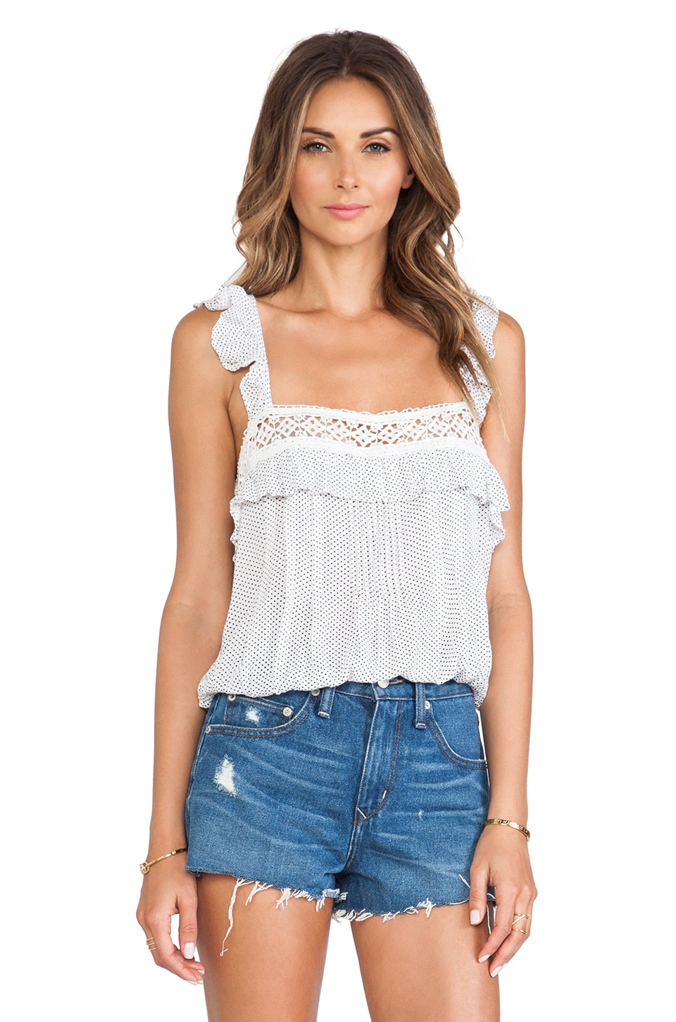 Free People Prairie Dot Top in White Combo