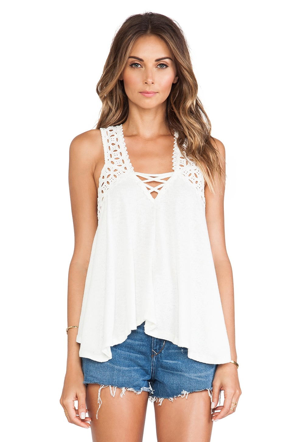Free People Runa Round Eyelet Top in Ivory