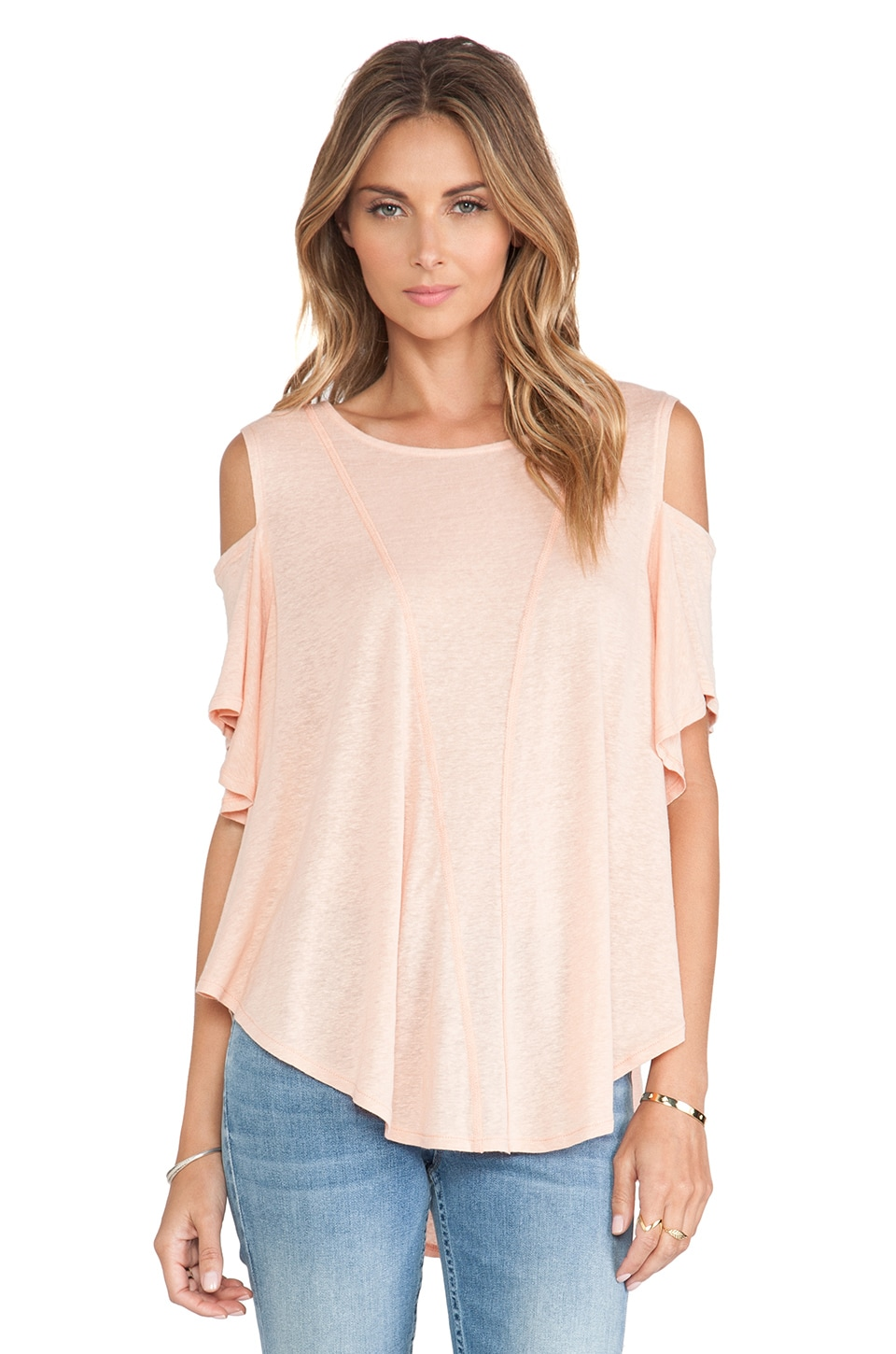 Free People Cold Shoulder Top in Peach