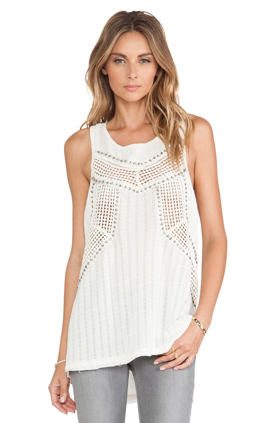 Free People Trinity Tank in Cream