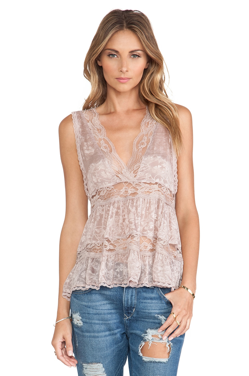 Free People Deep V Trapeze Cami in Light Taupe