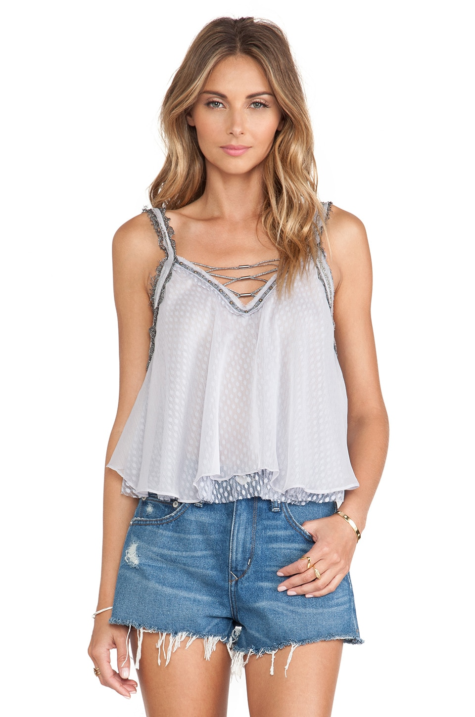 Free People Coasting on a Dream Top in Dolphin Blue