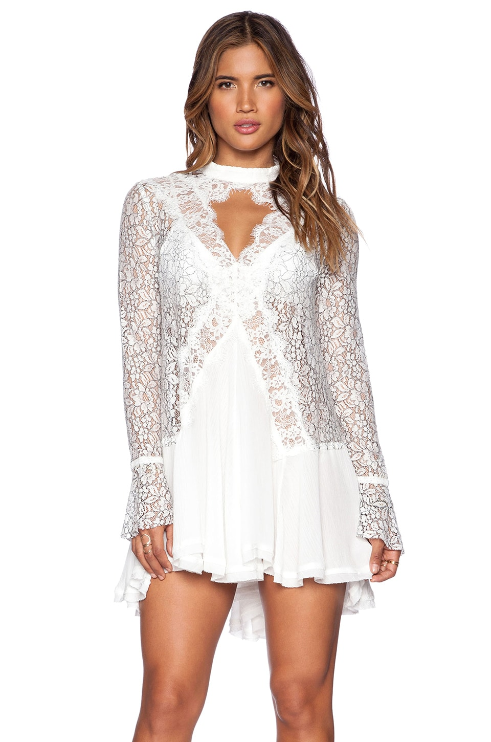 Free People New Tell Tale Lace Tunic in Ivory